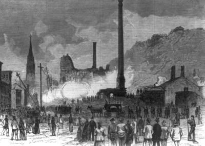 A funeral procession and a horse drawn hearse are the focus of this image, while the buildings still  spew smoke from the fires.