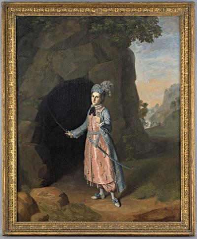 Charles Willson Peale's oil on canvas painting of Nancy Hallam, depicts the actress performing a scene from Shakespeare's Cymbeline. Hallam is situated in front of a grotto entrance, dressed like a man to fool an unwanted courtier.