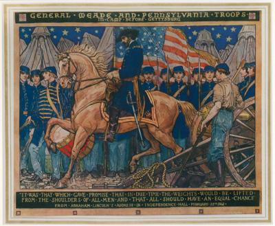 Mural painting of <i>General Meade and Pennsylvania troops in camp before Gettysburg,</i> by Violet Oakley, depicts General Meade sitting in full uniform astride his steed. To the left of the painting a young soldier leans against a cannon and in the background soldiers are standing at attention in front of their tents. The American Flag waves directly behind Meade.