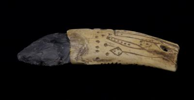 Sheep Rock Shelter carved bone handled knife -opposite view