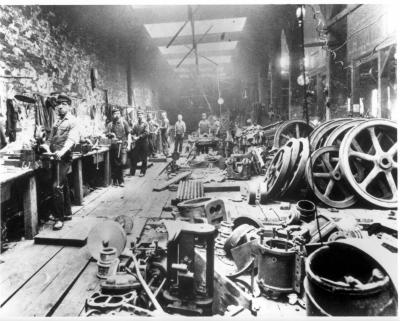 Image of the workers inside the works.