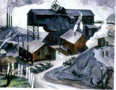 Oil on canvas of cars parked just beyond the entrance to a road that leads into the Coal Tipple. Scant figures of workers dot the landscape, as do buildings and smokestacks.