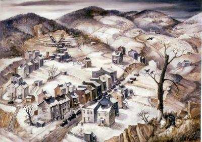 Oil on canvas of a bird's eye view of the snow-covered countryside that stretches off into the distance. In the foreground is the small company town that has a variety of old homes lining both sides of the street. A tree, leafless and missing most of its branches, has black birds perching in the remaining limbs.  On the far hillside, one can see a coal mine, a small country church, and cemetery.