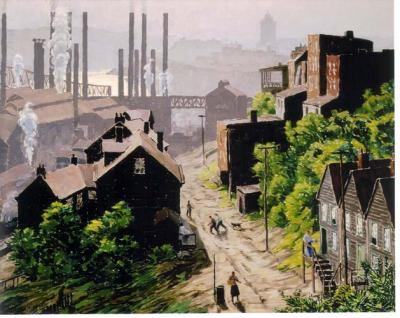 Oil on canvas of a mill town with the factory in the background.