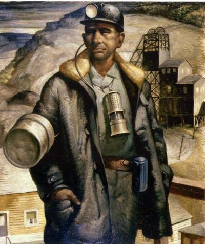 Oil on canvas of a miner in his work clothes with lunch pail, and lantern. In the background one can see the structures of the mine.