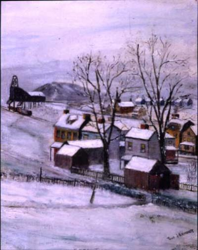 Thomas J. Armour's winter landscape, Coal Town, depicts a view through the backyards of a small town. In the distance on the left, is a coal tipple next to a railroad track; below it railroad cars wait to receive their cargo. Through the trees rising up from picket-fenced yards sits a small country church, on its spire a small cross is visible.