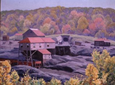 This painting from the Steidle Collection shows an example of the bituminous coal drift mine