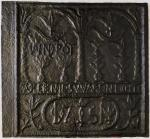 "Photo of the cast iron plate made by John Potts at Warwick or Pottsgrove Furnace, 1751; stove plate features German words that translate ""the Life of Jesus was a light""."