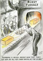 Two men wearing overalls watching a woman wearing overalls bending over a tin of muffins(?) she is feeding into a blast furnace. '