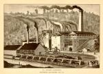 St. Charles Furnaces, Lithograph. Smoke stacks, railroad tracks, railroad cars filled with coal, horse and carriage with worker, and other workers can be seen.