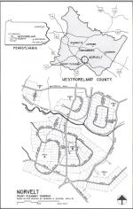 Black and white map outlining Norvelt.