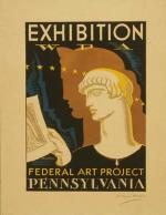Poster for Federal Art Project exhibition , showing head-and-shoulders portrait of Greek figure holding print.