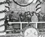 Standing on the reviewing stand, left to right, are Senator Joseph Guffey, Governor George Earle, Mrs. G.H. Earle and Harry Earle son of the Governor.