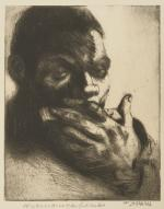 A man's large hand is the focus in the foreground of this work that depicts the face of a man playing a harmonica.