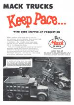 An ad featuring a photograph of two Mack trucks at work on a site and the large text reads: Mack Trucks keep pace with your stepped up production. Mack Trucks outlast them all. Bulldog logo.