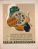 "Milhous illustrates plates, jugs, and a candle stick from Pennsylvania Dutch. Text reads: ""Colonial Pennsylvania Exists To-Day in Many Churches, Costumes, Crafts, of the German Sectarians/Rural Pennsylvania"""