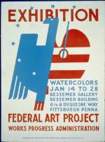 Red, white, and blue poster advertising an exhibition of watercolors at the Bessemer Gallery. Image shows half an eagle and half a painter's palette.