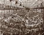 B/W sketch of interior of Wanamaker's Grand Depot department store, showing a bird's eye view of the various counters and sections. '