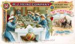 Color image of an Advertisement for Heinz Pickles and Products: 57 varieties.  Women bottling pickles in the Heinz kitchen.