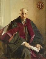 Oil on canvas portrait of Kirby, dressed in robe and sash, seated, and holding a scrolled paper.