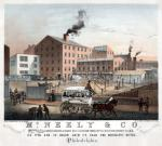 Advertisement depicting the large factory's several industrial buildings, sheds, and fenced yard near a busy street and sidewalk. Workers attend to a maze of drying lines with hanging leather pieces. Delivery carts traverse the yard and depart through the gate under the sign McNeely and Co. and a laborer uses a horse-drawn cart to collect coal from a mound beside the main building. Pedestrians stroll and converse on the sidewalk. In the street, an African American couple push a filled handcart and a crowded horse-drawn omnibus from the Frankford Road, Fourth Street line passes by.