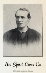 Photograph of Jones, head and shoulders, and the words His Spirit Lives On.