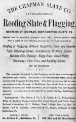The Chapman Slate Co., manufacturers of roofing slate and flagging advertisement