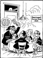 "A cartoon of John Lewis, George Earle, Joseph Guffey, David Lawrence playing a card game and Charles Margiotti watching.  Cigar smoking John Lewis says ""I might win a pot if those guys on the end don't start dealing each other aces."" A gun with the letters C.I.O. on the handle sits on the table next to Lewis. Guffey glares at Lawrence and Earle appears uninterested. State Attorney General Charles Margiotti, is seen peering over the transom in the background."