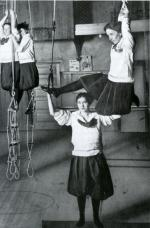 Young women exercising with ropes and rings, YMCA Central Branch, Philadelphia, PA 1918.