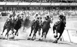 Jockeys on their horses round a corner of a race track, dirt flies in the air, and a crowd of spectators watch.