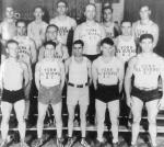 The York Oil Burner Athletic Club, 1932.  front: Dick Bachtell, Joe Florito, Henry Rhomasillo, Lou Schell, and Joe Miller; middle: George Brown, Art Levan, Bob Hoffman, Walter Good; back: Wally Zagurski, Beb Pentz, Reed Schwartz, Tony Mansicalco, and Bill Good.