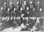 "Jim Thorpe and 1911 Carlisle Indian School Football Team with football which reads ""1911, Indians 18, Harvard 15)"