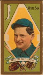 Baseball card image of Edward Walsh, head and shoulders set in between two bats and gloves.