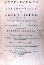 "Frontpiece of ""Experiments and observations on electricity ...."" by Benjamin Franklin"