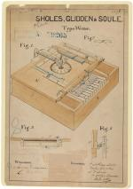 Printed patent drawing for a typewriter