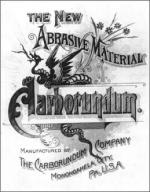 Cover of the Carborundum Company's 1894 prospectus for its new diamond-like product.