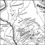 A detail from the map of the Battle of Brandywine showing the location of Osborne's Hill.