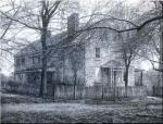 A black and white photo of The Emlen House, Washington's headquarters before moving to Valley Forge.