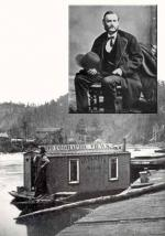 "An inset portrait photograph of John A. Mather, and a larger photo of a small boat with a makeshift shack. Signs are visible advertising ""photographic views"" of the Oil Creek region."