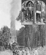 An inset photograph of a worker in a hat and overalls emptying a container into a large metal cylinder. Several other workers, surrounded by large machinery, are observing. The larger photograph shows a group of workers, women and children watching a gusher exploding from a tall derrick.