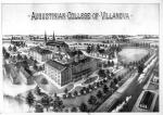 "Panoramic view of the ""Augustinian College of Villanova"" from the Pennsylvania Railroad side of campus. Buildings in front row (left to right) the College Building (Alumni Hall), the ""Study Hall Chapel"" (immediately behind the right [west] wing of the College Building), and the ""Gymnasium Chapel."" In the back row, Saint Thomas of Villanova Monastery and Saint Thomas of Villanova Church, c. 1890."