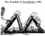 Freedom Train derailed, cartoon