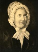 Black and white photograph of a portrait of Sarah Wilson.