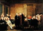 Oil on canvas of a jubilant crowd listening to the Reading of the Declaration of Independence. Oil on canvas of Congress Voting the Declaration of Independence, c. 1776. Jefferson is a tall person depositing the Declaration of Independence on the table. Benjamin Franklin sits to his right. John Hancock (1737-1793) sits behind the table. Fellow committee members, John Adams, Roger Sherman (1721-1793), and Robert R. Livingston (1746-1813) stand (left to right) behind Jefferson.