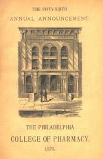 Philadelphia College of Pharmacy, Annual Announcement, 1879. The cover illustrates the façade of the 1868 college building on Tenth Street