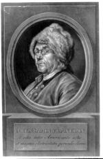 A profile of Benjamin Franklin wearing a fur cap.