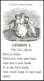 First Lesson, illustrates the simple approach to reading contained in the first eclectic readers
