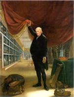 Charles Willson Peale's self portrait in his museum, as he draws back a curtain to show many artifacts. A mounted turkey and taxidermy instruments are in the foreground.