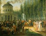 Oil on canvas depicting men, women, and Children dressed in their finery enjoying the celebration.