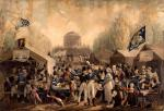 Oil on canvas of the nineteenth century celebration scene at the waterworks and surrounding grounds of Philadelphia. This painting also depicts a festive crowd of white soldiers, merchants and citizens, assembled at tables and under tents, while a lone black boy runs away.'